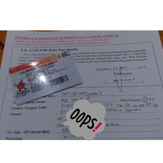Formulir Putih Donasi Darah PMI